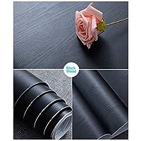 "30 cm × 200 cm Papel de Contacto de Madera Negro Film Autoadhesivo Decorativo para Muebles Superficies de Tacto Táctil de Madera Real Fácil de Limpiar Papel Adhesivo Madera Negro (11.8""× 78.7"")"