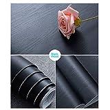 Schwarz Holz Folie für Möbel 30 cm × 200 cm Aufkleber Selbstklebend Tapete Klebefolie Dekorfolie Black