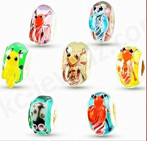 RKC Breloques perles en verre coloré en forme de mignons insectes Argent Par lots de 3à 100Compatible avec bracelets Pandora Troll Chamilia Carlo Biagi Zableake, Verre Métal, Silver, 5 x Beads