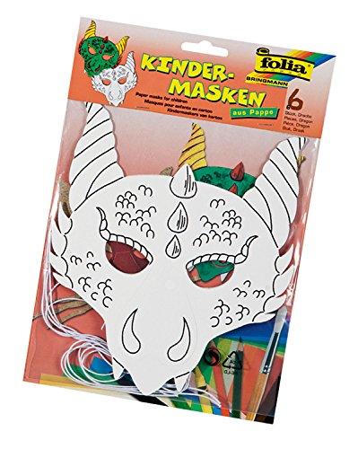 folia 23206 - Kindermasken Drache, aus Pappe, 6 Stück, weiß, zum selbst Bemalen und Gestalten, für Kinder, Jungen und Mädchen, ideal für Kindergeburtstage und Partys