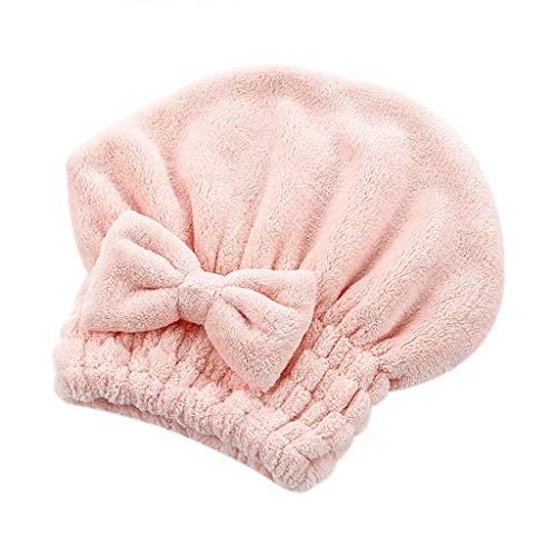 rofaser-Haar-Turban schnell trockenes Haar-Hut wickelte Handtuch-Badekappe EIN Handtuch Erwachsene Duschhaube (Rosa) ()