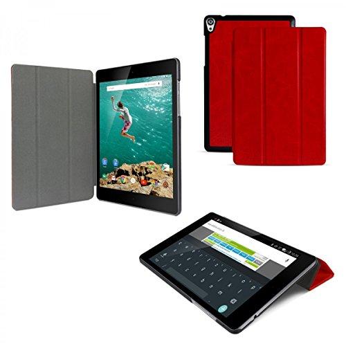 eFabrik Slim Cover für HTC Google Nexus 9 (8,9 Zoll) Hülle Case Tablet Zubehör Aufsteller Auto Sleep/ Wake Up Funktion Schutzhülle Kunstleder Rot