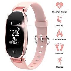 Idea Regalo - WOWGO Fitness Tracker Donna Cardiofrequenzimetri Conta Passi IP67 Impermeabile Podometro Bracciale Bluetooth con Monitor del Sonno per Smartphone Android & iOS, iPhone, Samsung