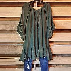 Kobay Women T-Shirt Tops, Ladies' Summer Fashion Boho Ruffle Shirts Butterfly Sleeve Irregular Tops Blouse