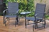 Garden Mile außen 2-Sitzer schwarz Garten Riemen Liebe Sitz mit Tisch Schaukelsitz Schaukelstuhl Terrasse Möbel Entspannen Schaukel Gartenstuhl Schwerlast Garten Bank Sitz (schwarz)
