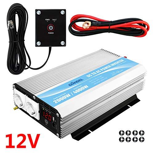 Wechselrichter 2000W 12v auf 230v Spannungswandler Konverter mit Fernbedienung und LED-Anzeige 2 AC Verkaufsstellen & USB-Anschluss für Wohnmobil LKW PKW Giandel