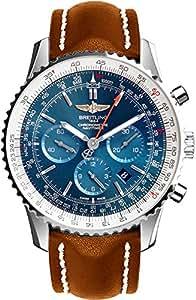 Breitling Navitimer 01Herren-Armbanduhr, Lederarmband, Edelstahl, Braun, AB012721/C889–443X