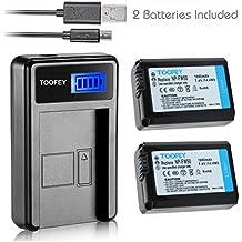 TOOFEY® 2x NP-FW50 Li-ion Batteria + USB LCD Caricabatteria per Sony Alpha 6300 Alpha 6500 ILCE-QX1 Alpha 7 7R 7R II 7S a7R a7S a7R II a5000 a5100 a6000 a6300 NEX-7 DSC-RX10 DSC-RX10 II III 7SM2 ILCE-7R 7S