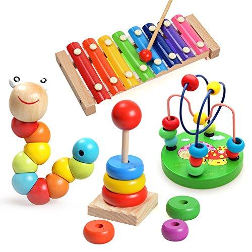 abester Instruments de Música para Niños Bebé Con 4piezas madera juguete xilófono, perlas de Caterpillar, perla laberinto juguete y torre Rainbow