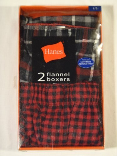 hanes-2-pack-mens-plaid-flannel-boxer-shorts-with-comfort-flex-waistband-s-28-30-by-hanes