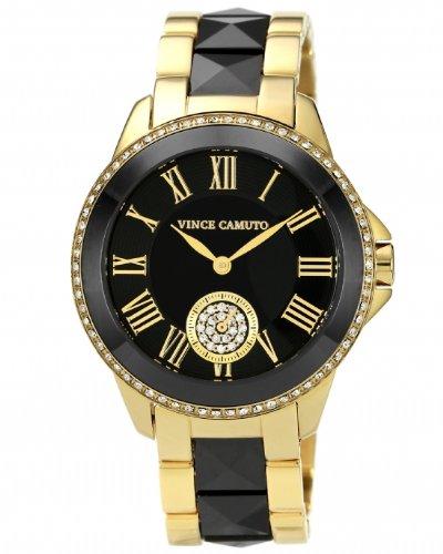 Vince Camuto  VC/5046BKGB - Reloj de cuarzo para mujer, con correa de cerámica, color dorado