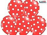 6 PALLONCINI lattice 30 cm ROSSO POIS BIANCHI decorazione LAUREA COMPLEA