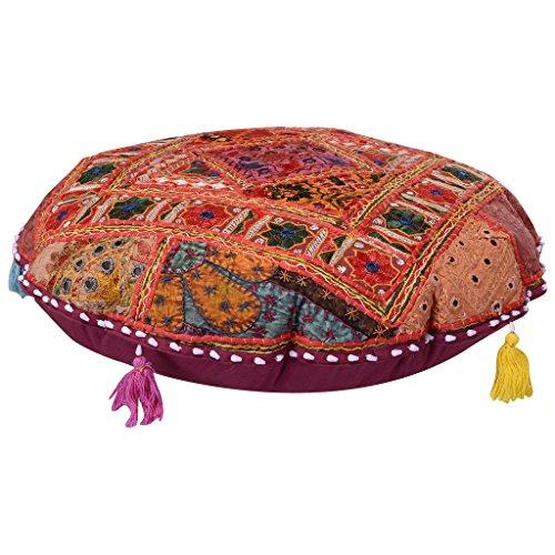 Vintage Banjara Multi Farbe Ethnic handgefertigt Bodenkissen Boho sortiert Patchwork Kissen Sham Gypsy Spiegel Arbeit bestickt rund Euro Sham Boho Überwurf