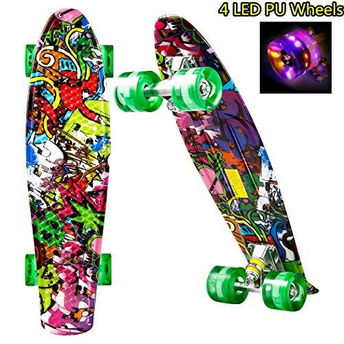 """Hiriyt Mini Cruiser Skateboard Retro Komplettboard - 22"""" 55cm Vintage Skateboard Für Anfänger Jugendliche Und Erwachsene - 4 Ledteile Erleuchten Das Glatte Pu Rad"""