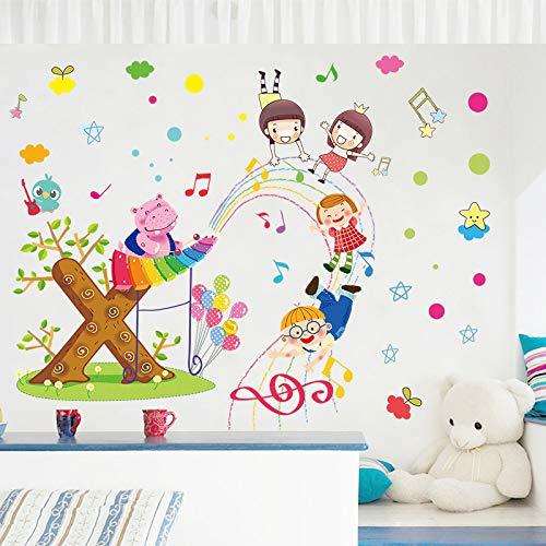 wassaw Cartoon Paradise Wall Sticker Tier-Klavier-Klavier Kinderzimmer Wohnzimmer Hintergrund Dekoration Malerei Selbstklebende Papier Einfach Romantische Wasserdichten Wohnaufkleber
