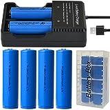 4pcs 18650 batteria e USB Caricabatterie per batterie ricaricabili con porta USB for 18650,18350,16340(RCR123), 26650 rechargeable batteries
