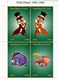 Chip y Dale Walt Disney hoja de sellos con Eeyore y Dumbo / 4 sellos / 2014 / Chad - Stampbank - amazon.es