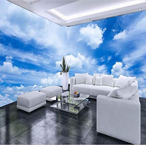 Personnalisé 3D Mur Papier Peint Bleu Ciel Blanc Nuages   Mur...