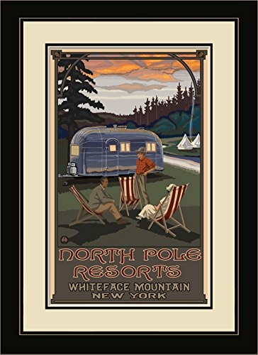 Price comparison product image Northwest Art Mall PAL-4597 MFGDM AIR North Pole Resorts Airstream Trailer Framed Wall Art by Artist Paul A. Lanquist,  13 x 16