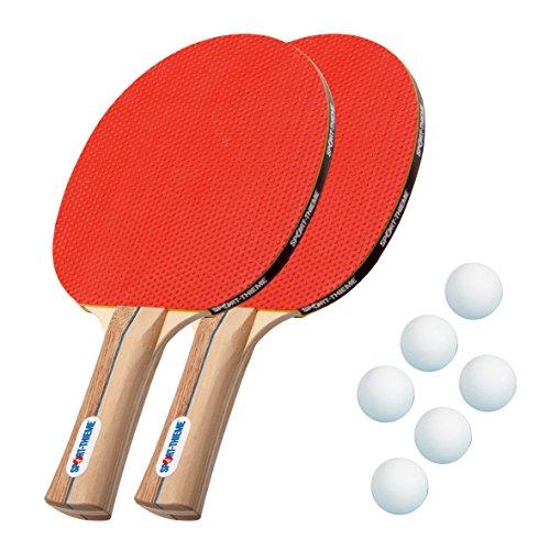 Sport Thieme Tischtennisschläger-Set | 2 hochwertige Tischtennis-Schläger + 6 Bälle (Weiß oder Orange) | Sehr gute Ballkontrolle | Tischtennis-Set für Kinder und Erwachsene