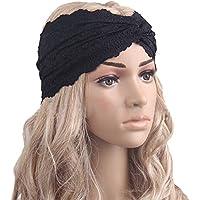 TININNA Moda Diadema para el Pelo para Mujeres Headwear Twist Encaje Diadema Turbante pañuelo en la Cabeza Wrap Accesorio para el Pelo-Negro