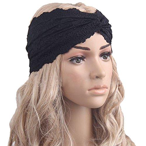 Tininna elegante pizzo elastico ritorto wrap testa fascia per capelli turbante hairband accessori per capelli nero