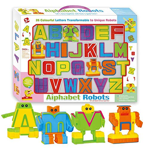 Slipond 26 Pieces Alphabet Robot Action Figure Toys for Kids ABC Learning, Christmas and Birthday Party, School Classroom Rewards, Carnival Prizes, Pre-School Education Toy