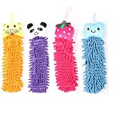 "#9: MK 2Pc Kids Colorful Cartoon Animal Shape Soft Absorbent Microfiber Hand Towel with Loop for Hanging in Bathroom and Kitchen 14.17"" x 3.9"" x 1.3"" inch Assorted Color & Design"