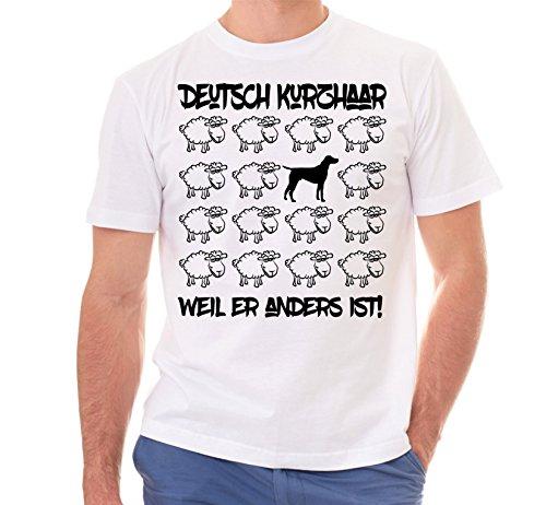 Siviwonder Unisex T-Shirt BLACK SHEEP - DEUTSCH KURZHAAR Jagd Jäger - Hunde Fun Schaf Weiß