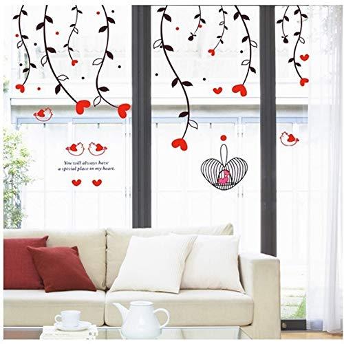 ELGDX Wandaufkleber Romantische Hängende Rote Liebe Herz Removable Home Decor Wandkunst Liebe Hochzeitsdekoration Mittelstücke Familie Aufkleber