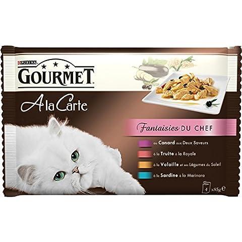 Gourmet - Perle Les filettines, mini filets, aliment complet pour chat adulte, au boeuf, poulet, lapin, saumon Les 4 sachets de 85g Prix Unitaire - Envoi Rapide Et
