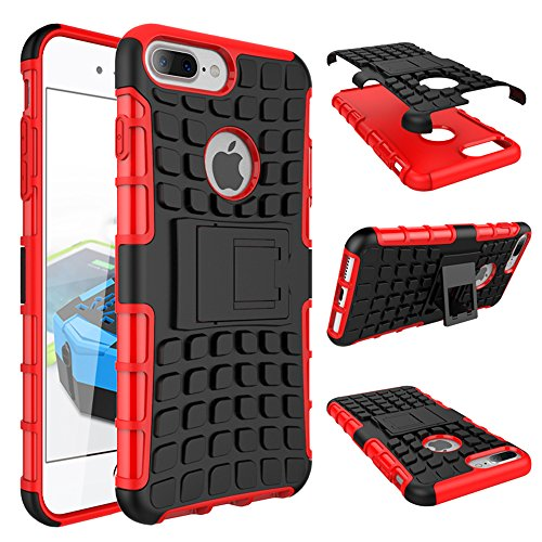 iPhone 7Shockproof Case misvoice, design With Build in kickstand Premium Quality Heavy Duty Shock Proof Armour Dual Protection Defender ibrida Hard Back Case Cover Shock Drop Bumper Impact Resistance nero/rosso