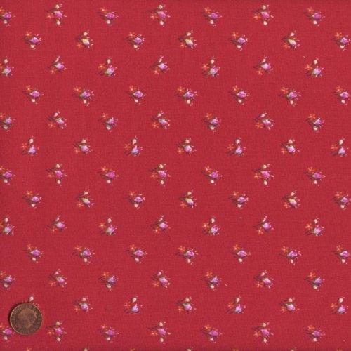 Tessuto (rosso) | fiorellini | 100% puro cotone | altezza: 140 cm (0,5m)