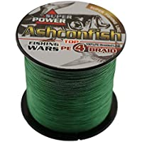 Ashconfish Braided Fishing Line - 4 Strands Super Strong PE Fishing Wire Multifilament Fishing String 500M/546Yards Fishing Thread 80LB Test- Abrasion Resistant Incredible Superline Zero Stretch Small Diameter -Moss green