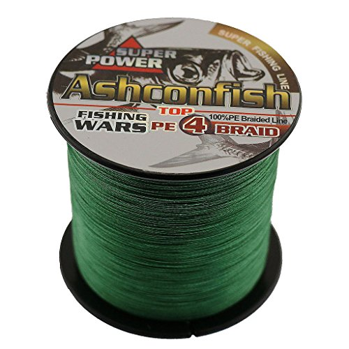 Ashconfish braided fishing line - 4 strands super strong pe fishing wire multifilament fishing string 100m/109yards fishing thread 20lb test- abrasion resistant incredible superline zero stretch small diameter - moss green