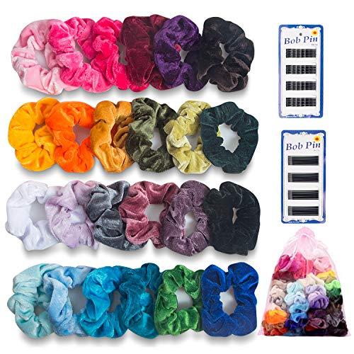 Capelli scrunchies velluto elastico, habett 24 pezzi elastici per capelli fasce per capelli, scrunchy cravatte velluto accessori per capelli per donne con borsa + 72pz mollette neri (24 colori)