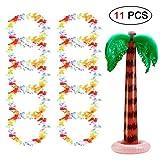 Ungfu Mall 11Hawaiian Halskette aufblasbare Palme Geraffter Blume Lei Party Halskette Tropical Hawaii-Girlande mit für Beach Party