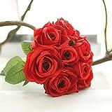 XGM GOU 9 têtes de Fleurs artificielles en Soie Fausses Feuilles de Rose de Mariage Décoration Florale Bouquet Décoration de Maison Mariage Fleur #XTT comme sur l'image