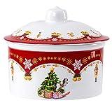 Van Well Keksdose Weihnachtszauber mit Deckel | 1.3 Liter | Porzellan-Geschirr | Schoko-Plätzchen & Gebäck | runde Weihnachts-Dose | Aufbewahrungs-Behälter