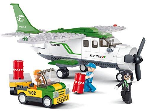 Baustein Fracht Flugzeug + Pilot + Auto + Arbeiter Figuren Bausteine Bausatz Set Bau Steine