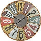 FineBuy Deko Vintage Wanduhr XXL Ø 60 cm Industrial Time Metall bunt | Große Uhr rustikal Dekouhr rund | Design Retro Küchenuhr für Küche & Wohnzimmer