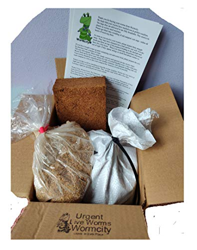 Wormcity TIGER COMPOSTING WORMERY STARTER SET, 500g WORMS + 250g Worm Food + Coir Bedding Caring For Your Worms Leaflet