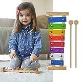 Hölzernes Xylophon für Kinder Baby mit hellen bunten Tasten Kind-Safe Holz Schlägel Holz Musikinstrumente für Mädchen Jungen Kinder früh pädagogische Spielzeug Geschenk