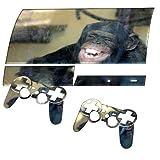 Schimpanse, Designfolie Sticker Skin Aufkleber Schutzfolie mit Farbenfrohem Design für PlayStation 3 Fat