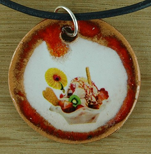 Orginal handicraft: ice cream; italian food, jewellery, jewelry, handcrafted necklace, best gift, art, ceramic
