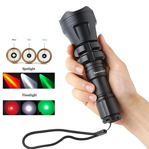 SecurityIng® Jagd-Taschenlampe XM-L2 U4 Rot / Grün / Weiß Led 900LM Zoomable wasserdichte taktische Taschenlampe + Fern druckschalter + Batterie