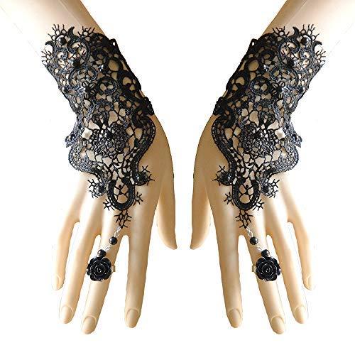 Jurxy Spitze Fingerlose Handschuh Mit Häkelspitze Perlen Ring Schwarz Steampunk Hochzeit Braut Handschuhe für Abschlussball Halloween Christmas Carnival Party Fancy ()