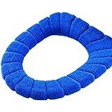 1 Piezas de Invierno Flocado Cubierta de Asiento del Inodoro Taburete Cerrado Mat Asiento de Inodoro Suave Acolchado Caliente(azul)
