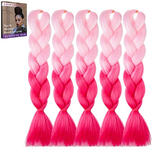 Emmet Erstklassige Qualitäts-Kasten-Jumbo-Gefäße 100% Kanekalon-Flechten Haar-Verlängerung 24Inch Volles Synthetisches Hitzebeständiges Haar Ombre 2Ton u.3Ton 5pcs/lot, mit Haar-Sorgfalt Ebook