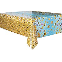Unique Party 50602 7 x 4.5 ft Plastic Emoji Tablecloth_p
